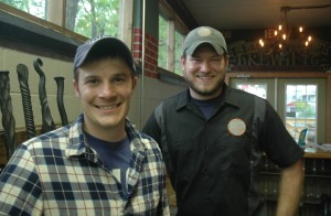 Kyle Mientkiewicz, left, and Brian Eaton will open Grist House Brewing in Millvale this weekend.
