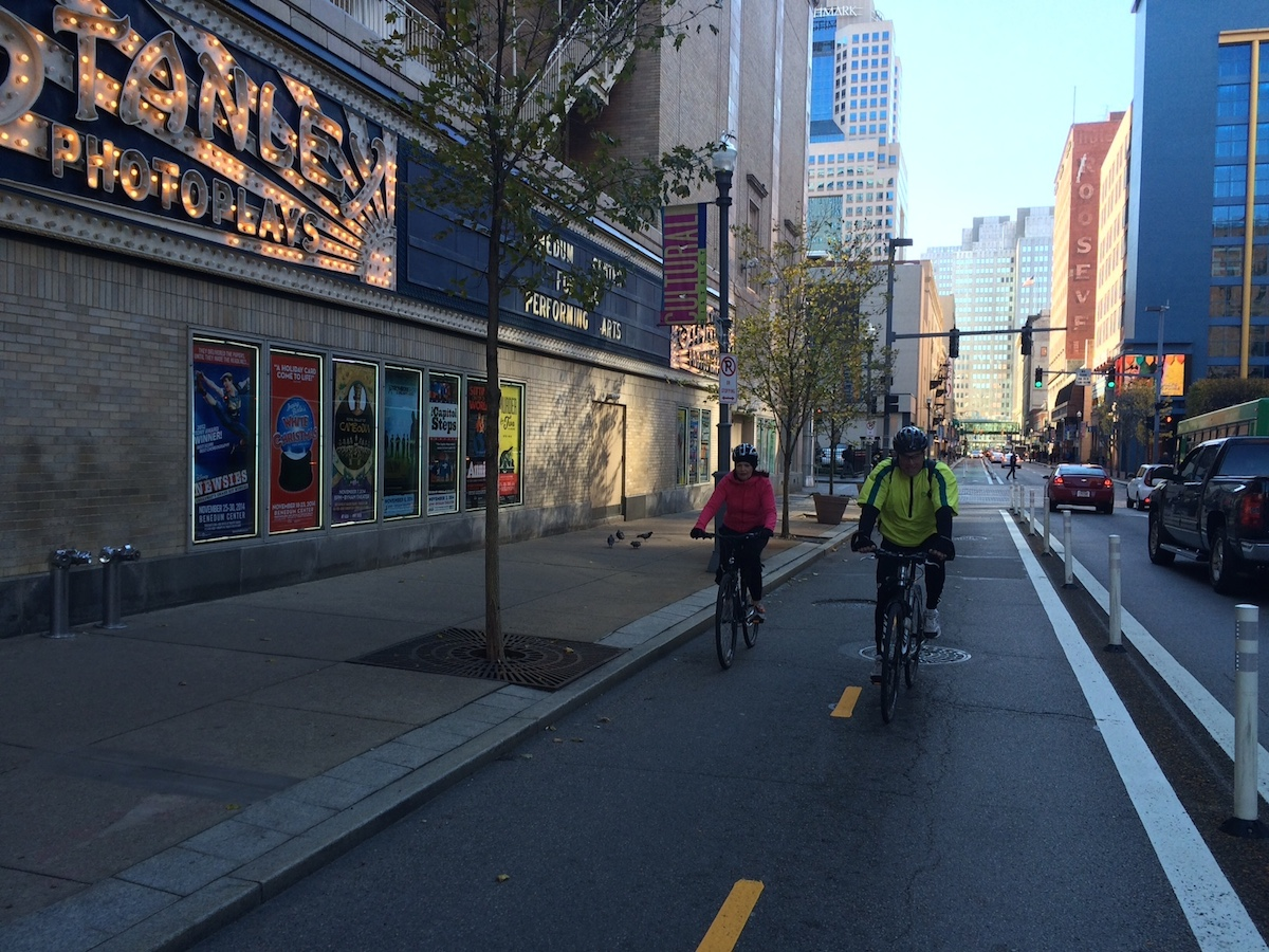 The new bike lane on Penn Ave downtown. Photo by Tracy Certo.