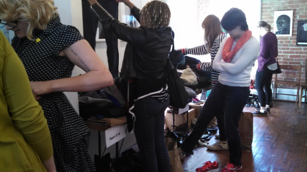 Clothing swap photo by Jessica Server.