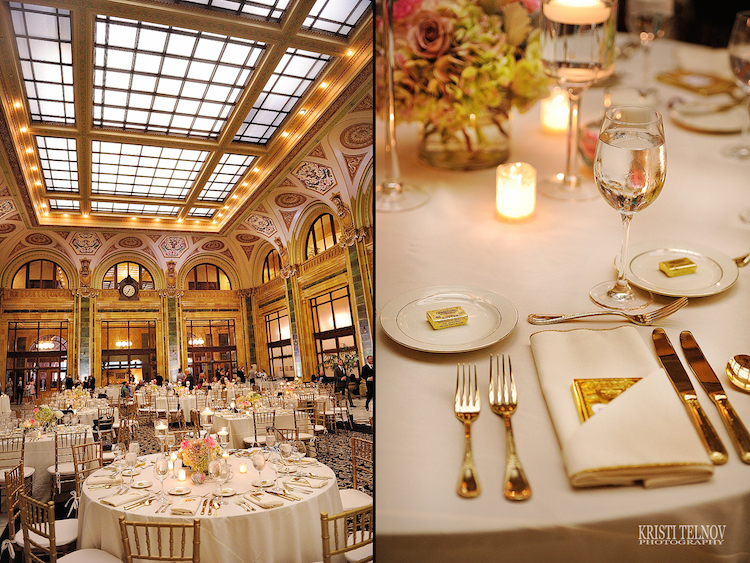 Inside the Pennsylvanian for a wedding catered by Opening Night. Photo by Kristi Telnov.