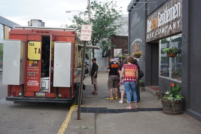 PGH Taco truck at the Brew Gentlemen in Braddock on a Saturday night. Photo by Tracy Certo.