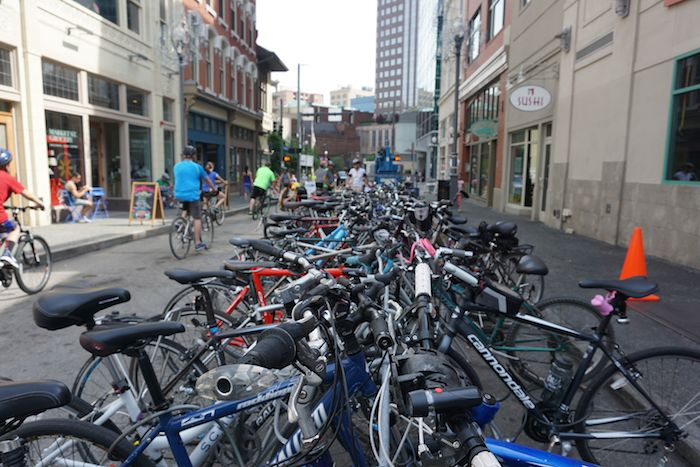 Bikes piled up at Market Street for Open Streets PGH.