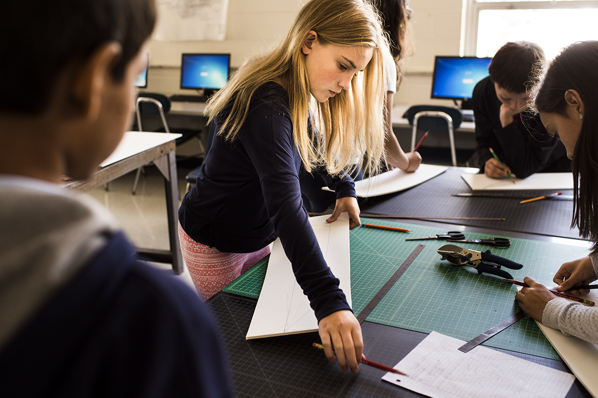 Designing and making in school. Photo by Rebecca Kiger.