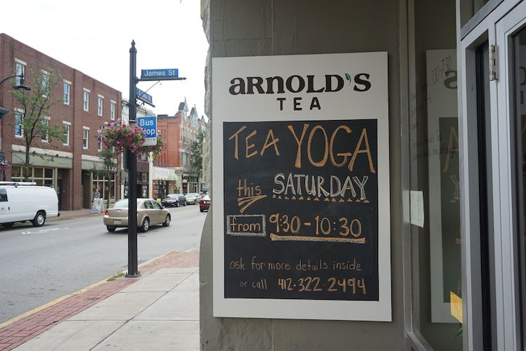 Arnold's Tea on the Northside offers Saturday morning yoga. Photo by Tracy Certo.