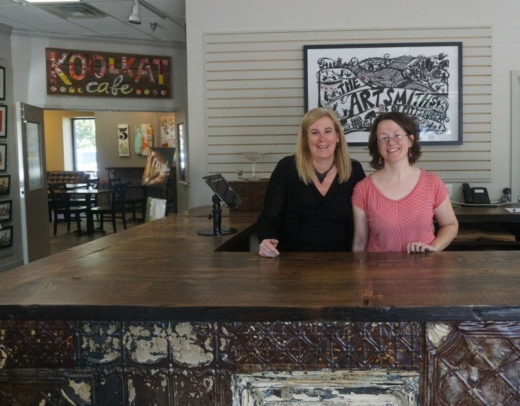 The owner, Kate McGready, and creative director, Kate, at ArtSmiths.