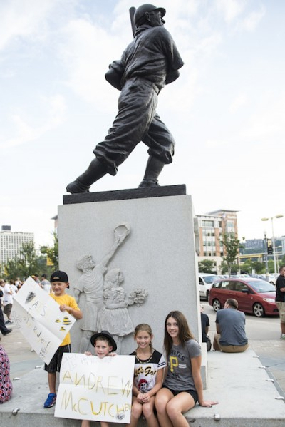 Posing with the sports statues at PNC Park. Photo by Erica Gidley.