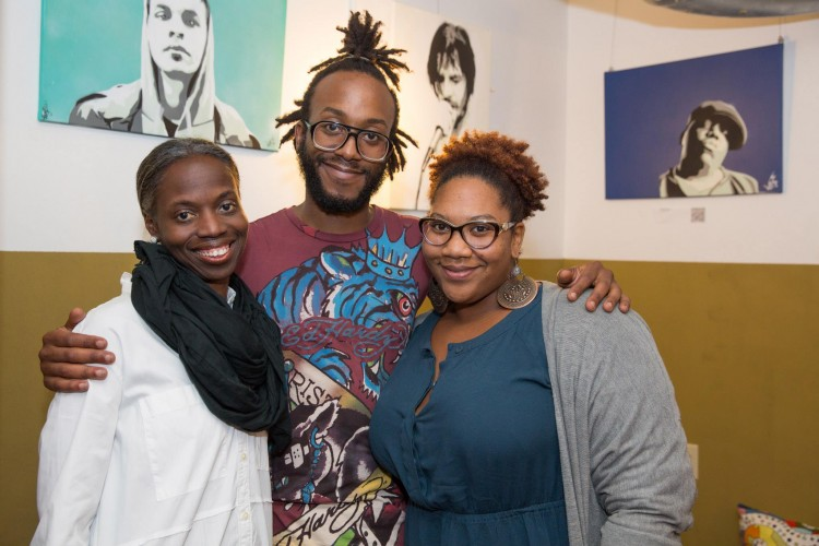 Janera with artists Darrell Kinsel and Anqwenique Wingfield.