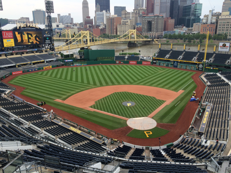 View from the press box at PNC Park. Photo by Andrew Stockey.
