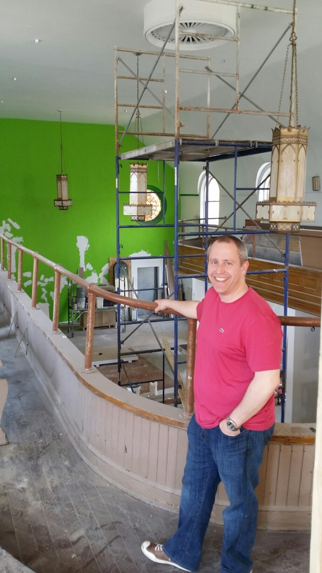 CEO Evan Indianer in the space during the renovations. Courtesy of Unicentric.
