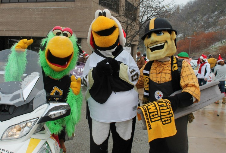 Pittsburgh mascots. Photo courtesy WPXI Holiday Parade.