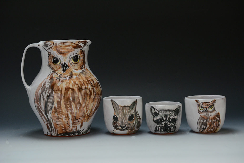 Eileen De Rosas, Owl Pitcher and Three Cups