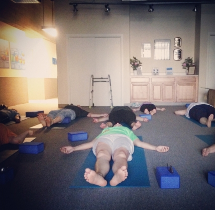 At one of Leyde's yoga classes focused on healing brain injuries. Photo courtesy of Janna Leyde.
