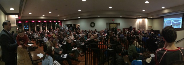 Residents gathered at Calvary Episcopal Church in Shadyside to voice support for the ice rink proposal at Hunt Armory. Courtesty Samantha Balbier.
