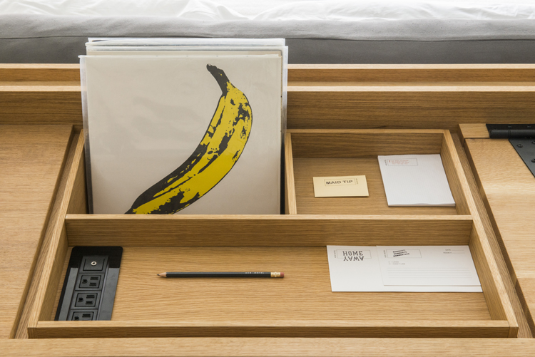 A desk in a guest room at Ace Hotel. Photo by Rob Larson.