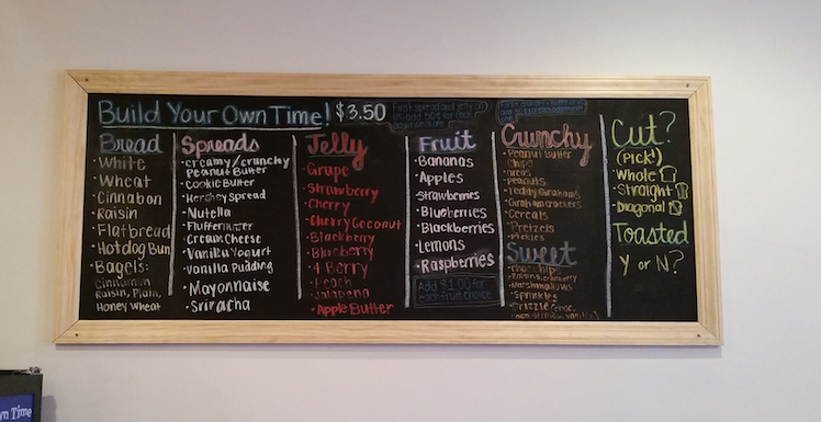 Peanut Butter Jelly Time's extensive ingredient board allows customers to mix and match. Photo by Emma Diehl.