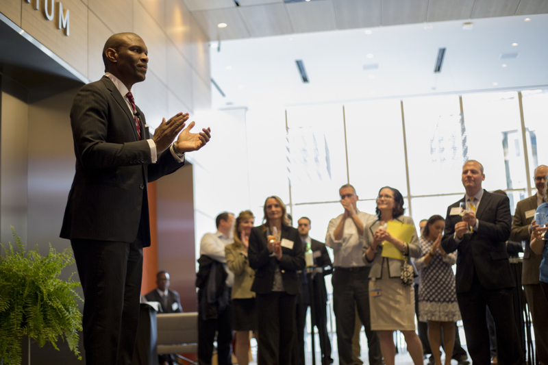 President Howard speaking to alumni at PNC in the new Tower at PNC.