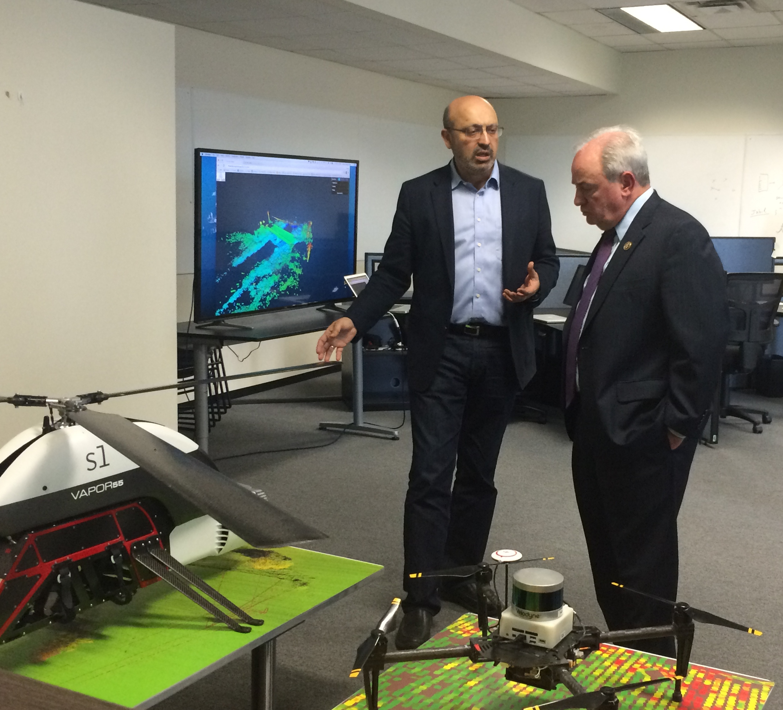 Dr. Sanjiv Singh explains Near Earth Autonomy's aerial robotic technology to U.S. Congressman Doyle