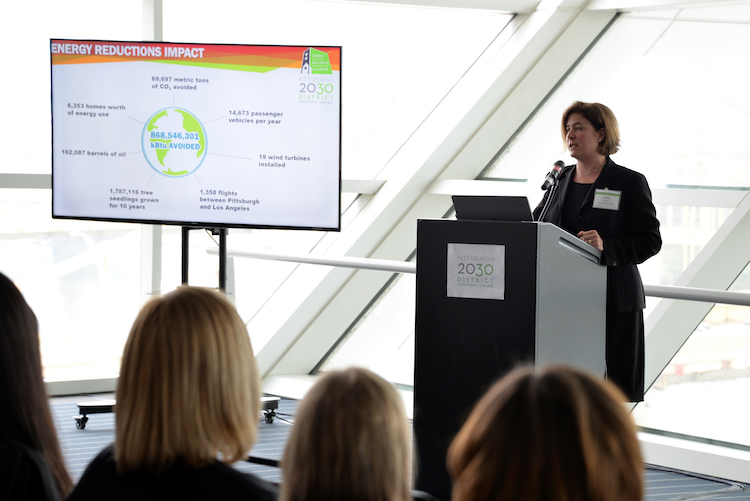 Anna Siefken presenting the 2105 Progress Report at a GBA event.