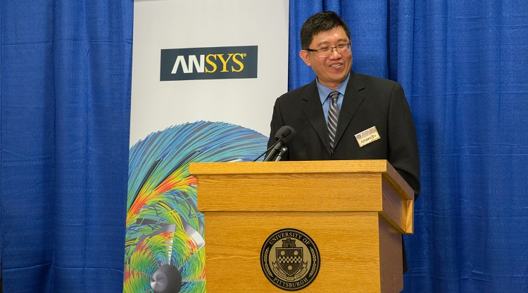 Albert To speaks at ANSYS Additive Manufacturing Research Laboratory dedication. Photo by SSOE/John Altdorfer.