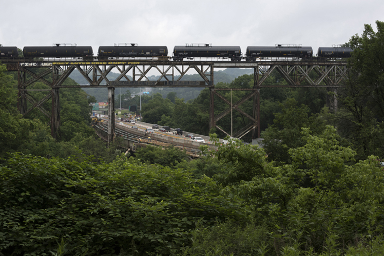 Parked tanker cars carrying liquified petroleum gas on the Lake Erie and Wheeling Pittsburgh train trestle over 376 west in Carnegie, PA.
