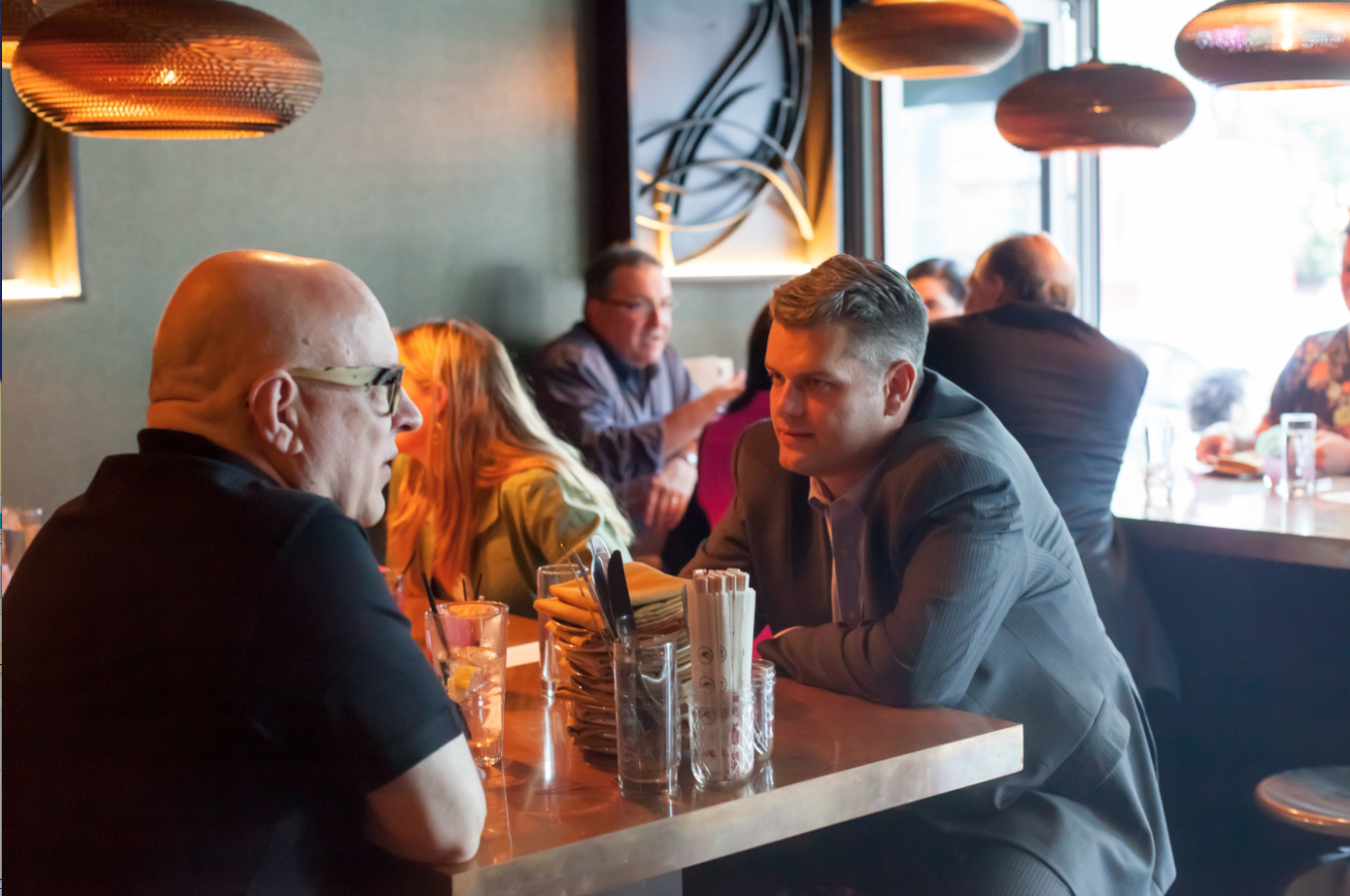Jeremy dining with former Warhol Museum director Tom Sokolowski at Downtown's G&G Noodle Bar.