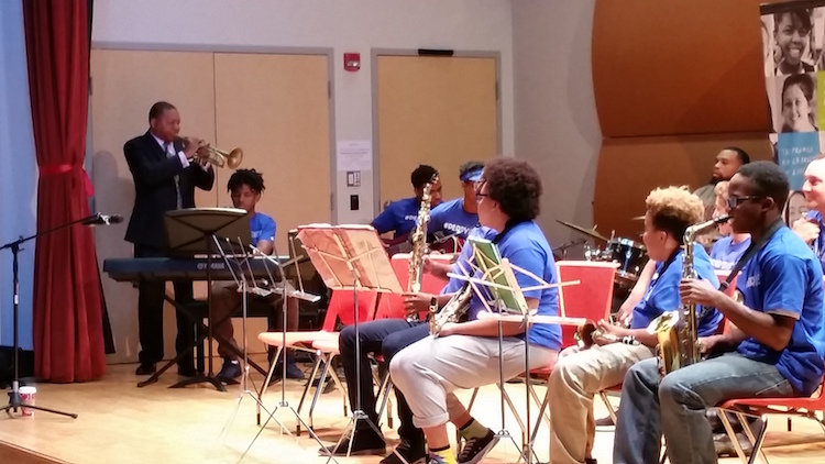 Jamming with Wynton Marsalis. Just another day in the life of these high school students. Photo by Joshua Franzen.