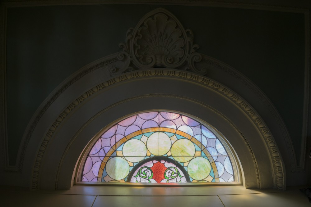 Stained glass inside St. Casimir. Brian Conway photo.