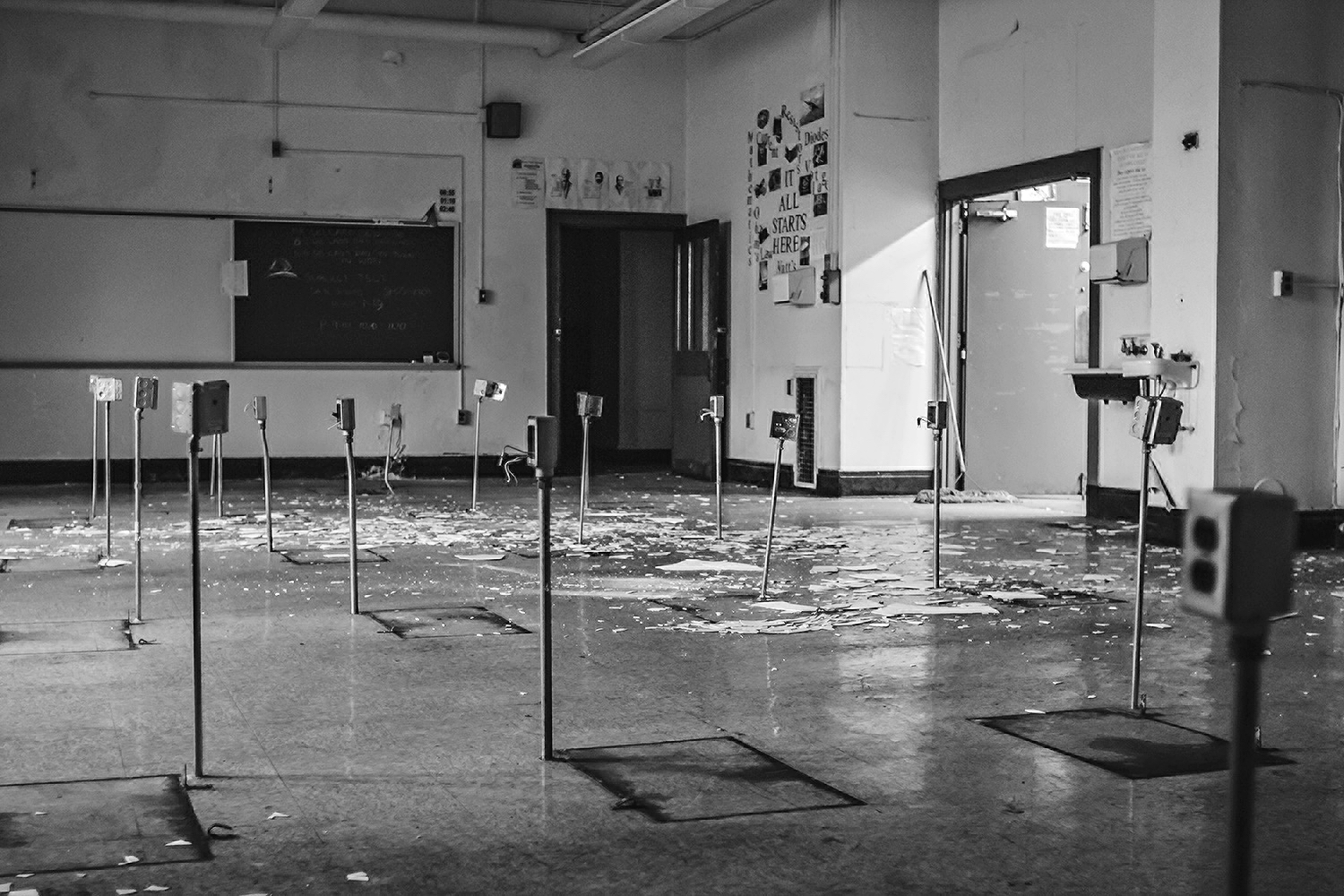 A science classroom more than six years after the building was closed, 2014. Photo: Cooper Miller.