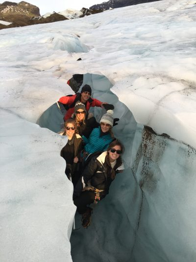 The author, fourth back, with her brother's family: Morgan, Peyton, Coleen and in the back, Rich Herbst in the glacier. Photo by Nick Certo.