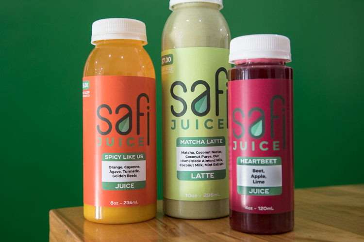 Fresh juice combinations at Safi Juice.