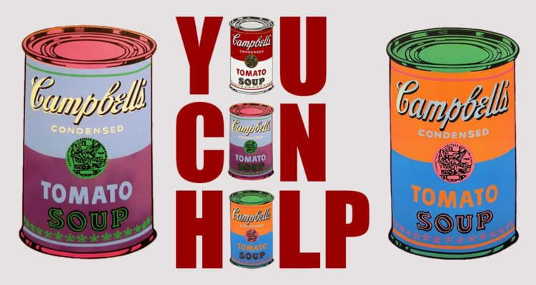 You can help at spirit 39 s andy warhol inspired food drive for Andy s chinese cuisine