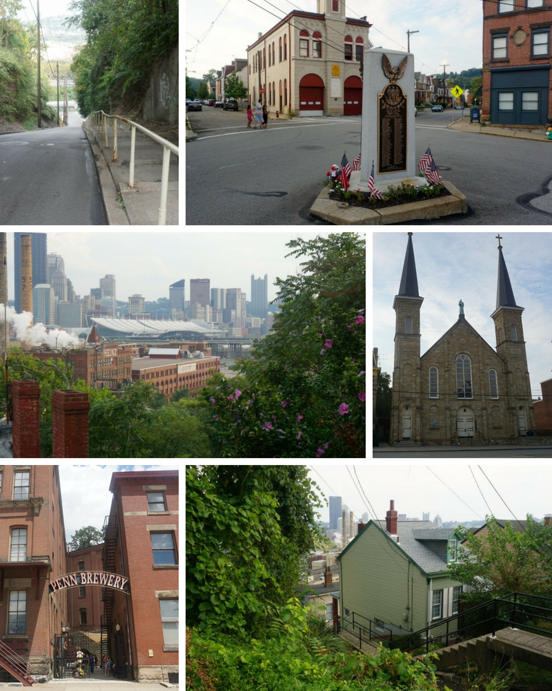 the famously steep Rialto St., veterans memorial, view of downtown, St.  Anthony Chapel, Penn Brewery and Troy Hill houses (all photos by Tracy  Certo)