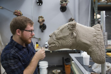 "JIM HENSON'S CREATURE SHOP CHALLENGE -- ""Trophy Room"" Episode 104. Photo by Dale Berman for Syfy."