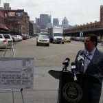 Mayor Bill Peduto addresses the media during a press conference in the Strip.