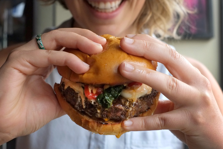One of the best burgers is at Over the Bar Café. Photo by Brian Cohen.
