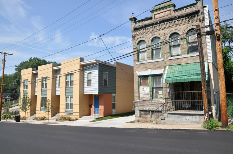 The old and the new in the Hill District. Photo by Brian Cohen.