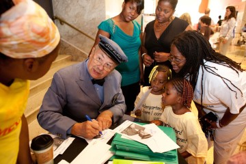 Mr. McFeely at the Children's Museum of Pittsburgh, encouraging kids to enroll in kindergarten.