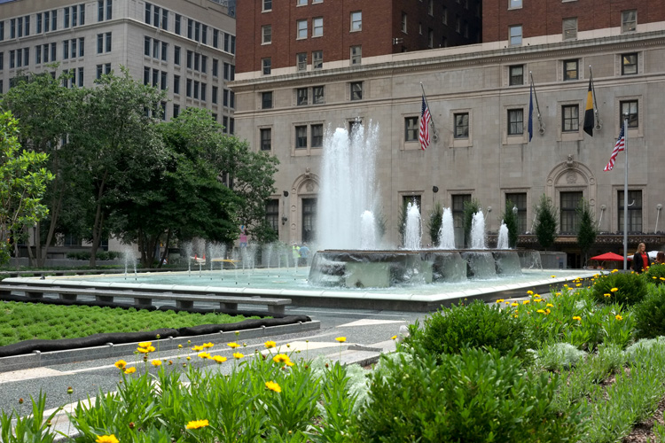 The recently renovated Mellon Square in downtown Pittsburgh is part of the revitalization efforts. Photo by Brian Cohen.