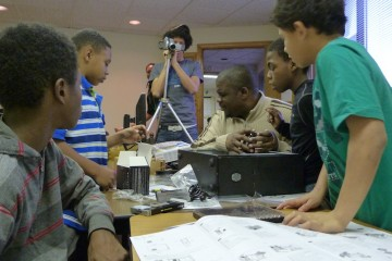 Teens at the Hilltop YMCA  learn to create and cooperate.