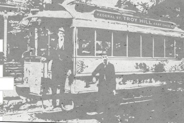 Rendering of a late 1800's East Ohio Street trolley car.