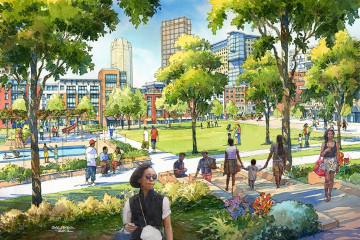 An illustration of one of the Lower Hill redevelopment's proposed open spaces.