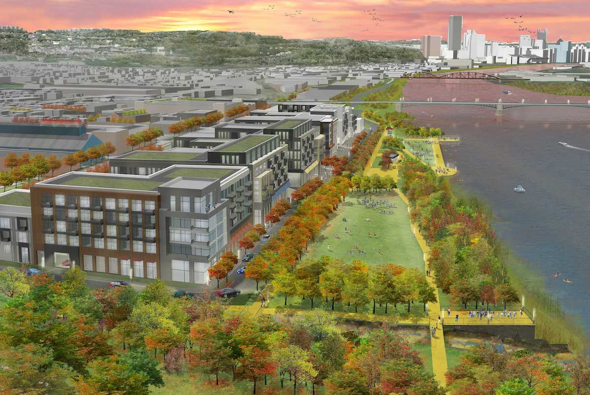 A rendering of the Strip District and Lawrenceville riverfront development.