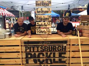 Will Patterson, Joey Robl and John Patterson of Pittsburgh Pickle Company at Bloomfield's Little Italy Days in August