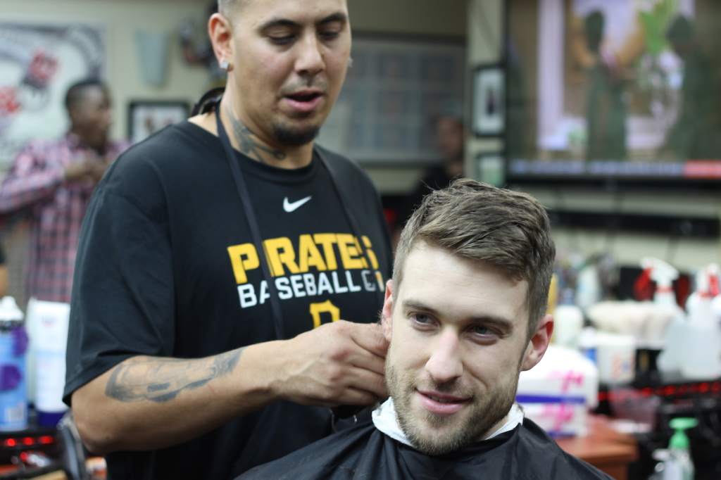 John Caputo, of South Side Barber Shop; in the chair, Andrew Hazi, of Greenfield.  Brian Conway photo.