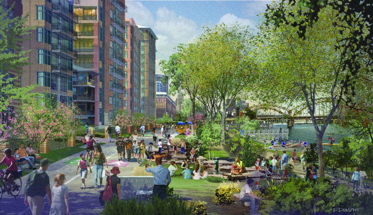 Rendering to inspire Strip District Riverfront Park, by Ed Dumont. Courtesy of Riverlife.