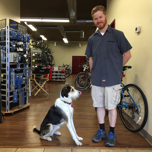 At West Liberty Bikes with owner Rob and resident dog, Bella.  Photo by TH Carlisle
