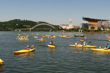 Kayaking on the Allegheny River.