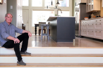 Dan Wintermantel in his newly renovated house, a former candy factory. Photo by Brian Cohen.