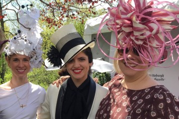 Gina Mazzotta, center, with her hat creations at the Pittsburgh Parks Conservancy's  Hat luncheon last week.