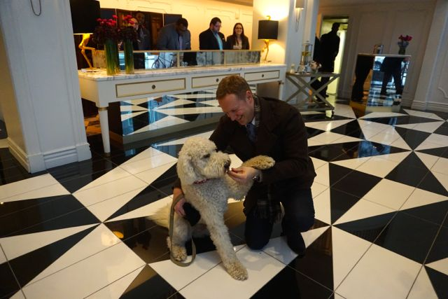 Stephan Bontrager of Riverlife with Ginger at the Hotel Monaco. Tracy Certo photo.